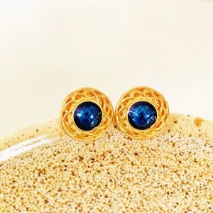 Liz Claiborne || Deep Blue and Gold Stud Earrings